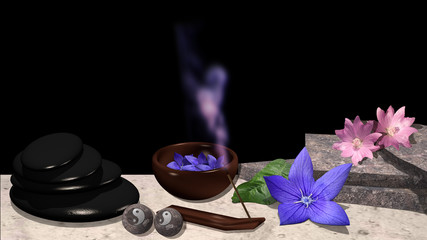 verschiedene Blüten, Steinplatten, Schale mit Blüten, Bimsstein , Qi-Gong Kugeln mit yin und Yang Symbol und ein Räucherstäbchen mit violettem Rauch. 3d render