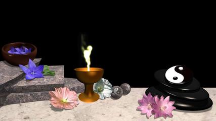 verschiedene Blüten, Orangenblatt, Steinplatten, Schale mit Blüten, Bimsstein mit yin und Yang Symbol, Qi-Gong Kugeln und ein goldener Kelch mit Flamme. 3d render