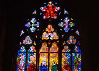 Stained glass  St. Vitus Cathedral in Prague