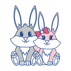 line color rabbit couple cute animal together