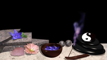 verschiedene Blüten, Steinplatten, Schale mit Blüten, Bimsstein mit yin und Yang Symbol , Qi-Gong Kugeln, Rosenquarz und ein Räucherstäbchen mit violettem Rauch. 3d render
