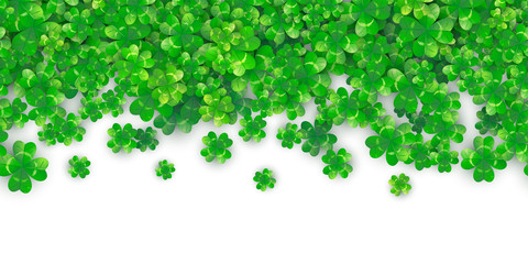 Patricks Day seamless background with four green clover heap with shadows