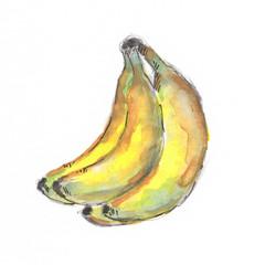 Banana watercolor illustration food
