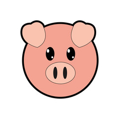 full color pig head cute animal character