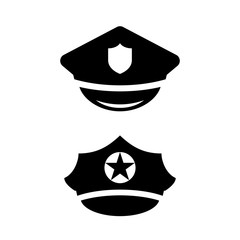 Policeman hat vector icon set