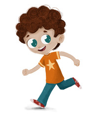 Niño corriendo jugando feliz