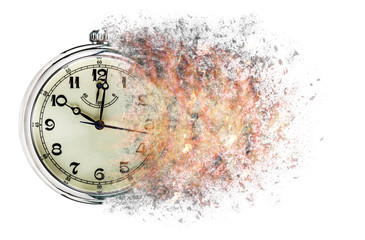 Time is running out concept shows clock that is dissolving away into little particles.