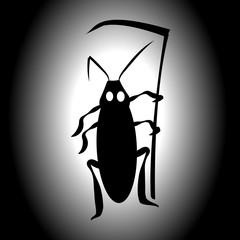 Cockroach Death. Vector illustration for insect control services. Terrible mystical mystery.