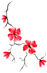 Cute floral background. Watercolor branch with flowers