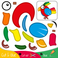 The bird is a colorful parrot. Education paper game for preshool children. Vector illustration.
