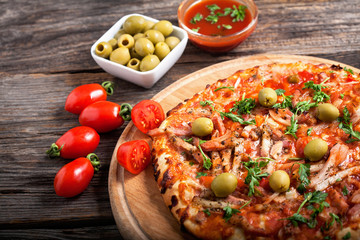 delicious pizza with tomato