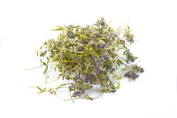 Dried thyme tea on a white background