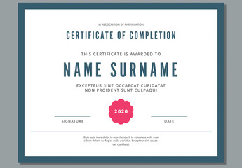 Certificate of Achievement with Dark Teal Accents