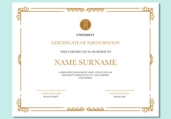 Certificate of Achievement with Golden Ornamental Elements