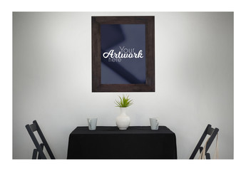 Picture Frame Mockup with Table and Chairs
