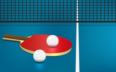 Table tennis, rackets and balls