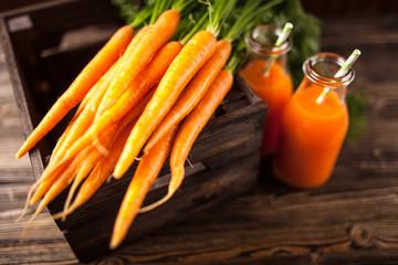 Fresh organic carrot juice