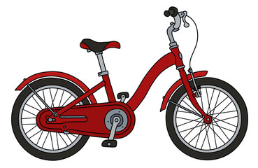 The funny classical red bicycle