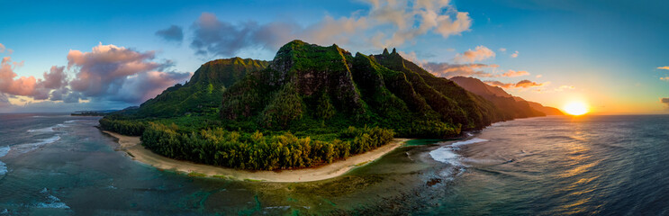 Aerial View of Hawaii's Na Pali Coast, Kauai