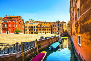 Venice cityscape, Campo S Anzolo square and water canal. Italy.