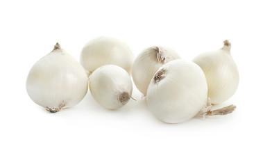 Fresh ripe onions on white background