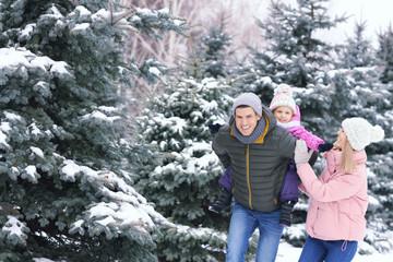 Happy family walking in winter park