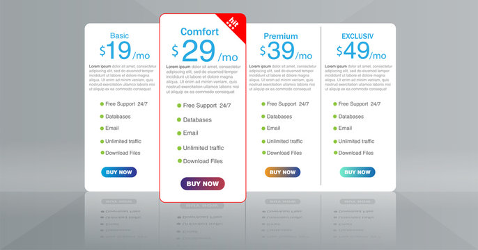Vector pricing table template.EPS10