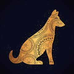 dog mandala boho style vector illustration design