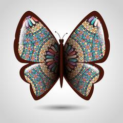 butterfly with skin mandala boho style vector illustration design