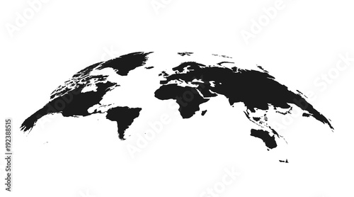 Detailed grey world map, mapped on an open globe, isolated on white ...