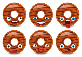 Set of Donut emoji isolated on white background. Vector illustration