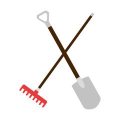gardening shovel and rake isolated icon vector illustration design