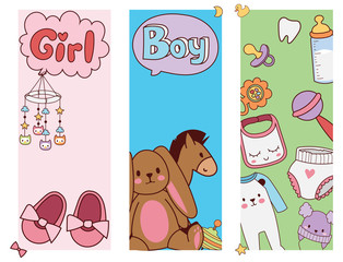 Baby toys banner cartoon family kid toyshop design cute boy and girl childhood art diaper drawing graphic love rattle fun vector illustration.