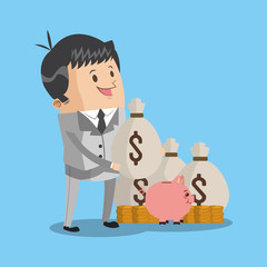 Rich businessman with money bags and coins icon vector illustration graphic design