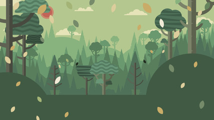 Fotobehang Khaki Green silhouette forest and mountains landscape abstract background.Nature and environment conservation concept flat design.Vector illustration.