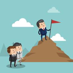 Businessman in the peak of mountain icon vector illustration graphic design