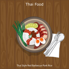 thai food Thai Style Red Barbecue Pork Rice