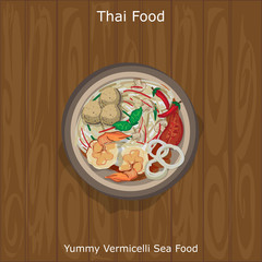 thai food Yummy Vermicelli Sea Food