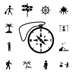 Compass vector icon. Set of tourism icons. Signs of collection, simple icons for websites, web design, mobile app, info graphics