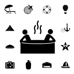 Men in tub icon. Set of tourism icons. Signs of collection, simple icons for websites, web design, mobile app, info graphics