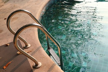 stairs bars ladder in the pool