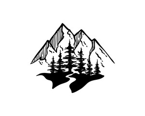 Line Art Black Mountain and Pine Tree with River Symbol Logo Vector