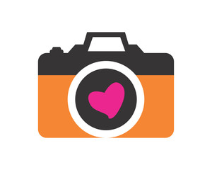camera heart photography photographer photographic image vector icon logo