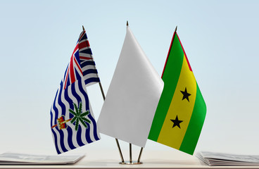Flags of British Indian Ocean Territory and Sao Tome and Principe with a white flag in the middle