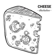 Cheese fresh food vector hand drawn illustration
