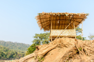 photo of bamboo hut on the mound