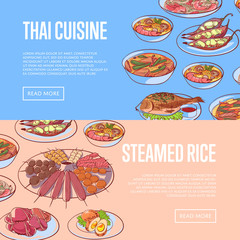 Thai cuisine restaurant flyers with delicious asian dishes. Tom yam soup, steamed rice, satay skewers, green curry, fish and crabs, noodles with shrimp and green papaya salad vector illustration.