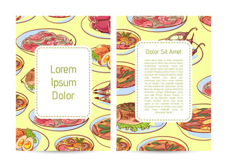 Thai cuisine restaurant menu cover with delicious asian dishes. Tom yam soup, steamed rice, satay skewers, green curry, fish and crabs, noodles with shrimp and green papaya salad vector illustration.