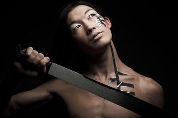 asian man with katana