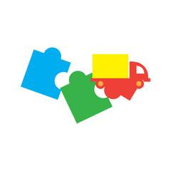 Delivery Puzzle Logo Icon Design
